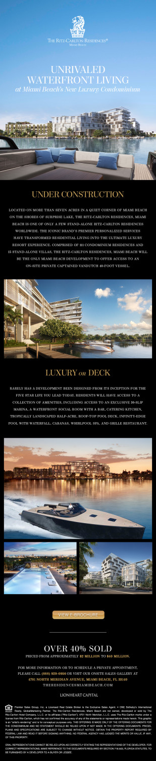 The Ritz-Carlton Residences, Miami Beach E-blasts